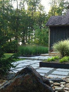 Modern landscape designs stone patio pool boulders decorative