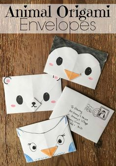 Cute Origami Envelopes - super cute and easy origami envelopes for Winter. These make great Christmas Letters, Thank You Letters, additions to Christmas gifts and tags or little notes to send just because. Love how easy these Animal Origami Envelopes are to make! Cutest Penguin, Polar Bear and Owl Designs! Source: http://www.redtedart.com/cute-origami-envelope-winter-animals/