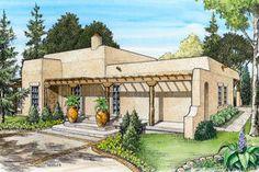 Adobe / Southwestern Exterior - Front Elevation Plan #140-143 - Houseplans.com