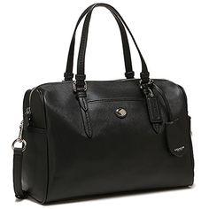 COACH Peyton Leather Nancy Satchel Handbag Black