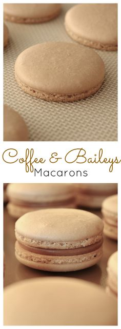 Coffee & Baileys Macarons. The perfect drink combination gets transformed into a macaron. Coffee flavoured cookies with a Baileys Milk Chocolate Ganache. | livforcake.com