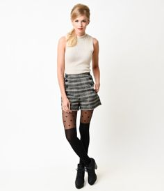 This one's a hot button issue, darlings! These prodigiously patterned grey tartan high waisted shorts are exceptionally...Price - $36.00-uThbx6MT