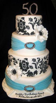 Elegant 50th birthday cake By alanaj on CakeCentral.com