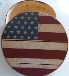 Vintage Round Wood Cheese Box Flag Painted Lid by ArtByThePond