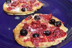Low Carb Cream Cheese Pancakes		  4 oz. cream cheese, softened  2 large eggs  1/2 tsp cinnamon  1 dash sea salt  1 Tbsp ground flax seed  1 packet SweetLeaf 100% Natural Stevia Sweetener*, optional  Frozen berries to top