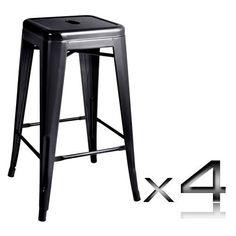 """Phillipa"" Replica Tolix Kitchen Counter Stool 66cm in Black (Set of 4 – Simply…"