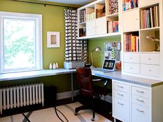 IKEA expedit shelving into home office  Great execution, might be what I go with
