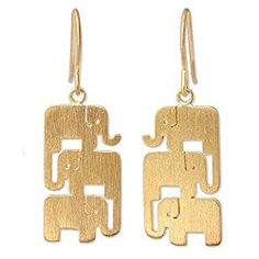 NOVICA Yellow Gold Plated .925 Sterling Silver Vermeil Dangle Earrings, 'Elephant Stack'
