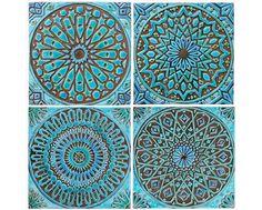 arte de pared marroqui hecho de cerámica (x4) - arte exterior - decoración de jardín - arte marroqui - azulejo artesanal - moroc1 - turquesa