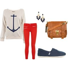 anchor // red pants