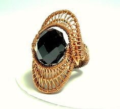 chunky wire wrapped beaded copper ring by 2wired on Etsy, $50.00