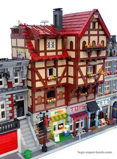 Half Timber Framed Modular Building - Neighbors (by Super*Junk) Lego Modular, Lego Design, Design Design, Casa Lego, Lego Village, Amazing Lego Creations, Lego Boards, Lego Projects, Lego Friends