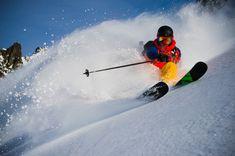 Powder slash on free skis