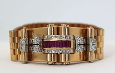 French RETRO diamond and ruby bracelet.