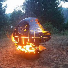 The Star Wars Death Star Fire Pit is a one of a kind Fire pit for entertaining. The Fire Pit Death Star is perfect for any Star Wars fan. Cool Fire Pits, Diy Fire Pit, Don Pollo, Stainless Steel Screen, Wood Burning Fires, Built In Grill, Outdoor Kitchen Design, Death Star, Welding Projects