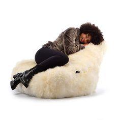 B-bag Mighty-b zitzak Extreme Lounging schapenvacht wit   Musthaves verzendt gratis
