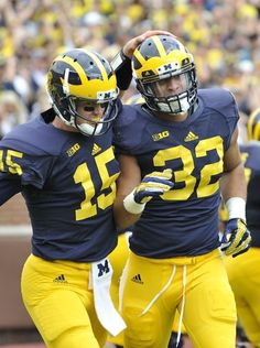 Michigan Wolverines quarterback Jake Rudock (15) congratulates running back Ty Isaac after he scored on a 76-yard touchdown run in the second quarterMichigan Wolverines quarterback Jake Rudock (15) congratulates running back Ty Isaac after he scored on a 76-yard touchdown run in the second quarter