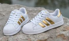 Summer11Adidas Fashion Shell-toe Flats Sneakers Sport Shoes White Black Golden