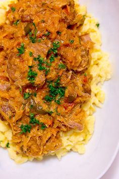 Pork and sauerkraut goulash-just printed the recipe, can't wait to try! Segedínský Guláš also known as Székely Gulyás or Szegediner Gulasch is a pork goulash that's simmered together with sauerkraut, onions and peppers until it's fall apart tender. Pork Goulash, Goulash Recipes, Pork Recipes, Cooking Recipes, Fodmap Recipes, Pork Stew, Easy Recipes, European Dishes, Eastern European Recipes