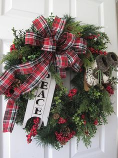 Christmas Wreath XL Front Door Wreath Natural Winter by FunFlorals