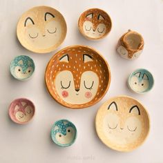 Cute animals on pottery bowls or plates Amigos del bosque. Vajilla #kawaii