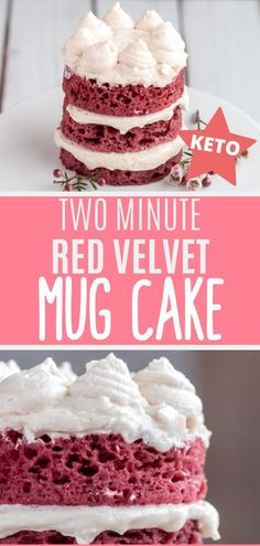 Keto Red Velvet Mug Cake - Only takes 2 minutes to make! Keto Red Velvet Mug Cake Recipe - For the red velvet cake lovers, this is a sugar free, keto cake you can make in less than 2 minutes! Top with Sugar Free White Chocolate, Mint Chocolate, Keto Friendly Desserts, Low Carb Desserts, Red Velvet Mug Cake Recipe, Cake Recipes, Dessert Recipes, Flour Recipes, Steak Recipes