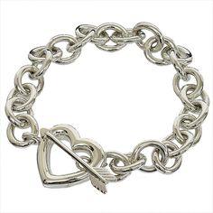 Tiffany & Co 925 Sterling Silver Heart & Bow Bracelet