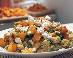 Spiced Pumpkin with Goat Cheese and Lentils
