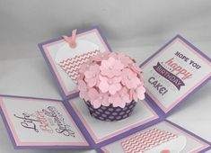 Purple and Pink Cupcake Birthday Card, Explosion Box Card, lila und rosa Cupcake Geburtstagskarte, Explosion Box Karte, 3d Birthday Card, Cupcake Birthday, Birthday Gifts, Cricut Birthday Cards, Purple Birthday, Happy Birthday, Diy Gift Box, Diy Gifts, Explosion Box Tutorial