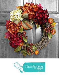 Fall Wreath with Hydrangeas for Front Door and Fall Decor from Refined Wreath http://www.amazon.com/dp/B015IEX32Y/ref=hnd_sw_r_pi_dp_T42fwb0E6JNPS #handmadeatamazon