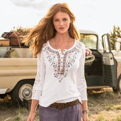 GRACE HENLEY - Our lace-inset, embroidered henley shirt is a perfectly feminine spin on an everyday classic.