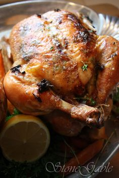 Ina Garten's Perfect Roast Chicken With A StoneGable Twist Ina Garten Roast Chicken, Roast Chicken Recipes, Herb Roasted Chicken, Baked Chicken, Baked Ham, I Love Food, Good Food, Yummy Food, Delicious Dishes