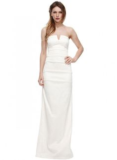 Sheath Strapless Notched Neckline Satin Wedding Dress-ws0077, $224.95