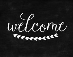 DIY Chalkboard Welcome with Free Printable - Start at Home Decor welcome chalkboard Welcome Font, Chalkboard Welcome Signs, Welcome Stencil, Sign Templates, Templates Printable Free, Free Printables, Chalkboard Stencils, Diy Chalkboard, Chalkboard Printable