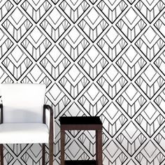 Tapeta ATADesigns Diamond Cut- Tapeta ATADesigns Geometric - medaliony Art Deco na czarno - białej tapecie. Propozycja do nowoczesnych wnętrz w klimacie Art Deco.