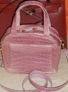ee22a5239644 Lana Marks genuine alligator crocodile hand bag with shoulder strap  mauve