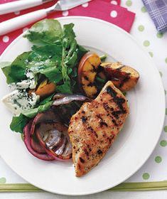 Chicken With Grilled Peaches and Arugula recipe from realsimple.com #myplate #protein #vegetables