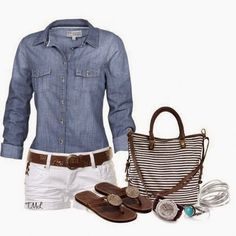 Very Adorable, Lovely, Simple, Comfort Combination, Jeans Shirt, White Mini Short, Brown Belt, Brown Sandal, Brown Watch, White-Brown Striped Hand Bag, Silver Colored Ring And Silver Colored Bracelets | Street Fashion