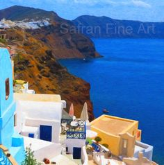 Santorini  Greek Islands  Impasto Oil Painting  by SafranFineArt