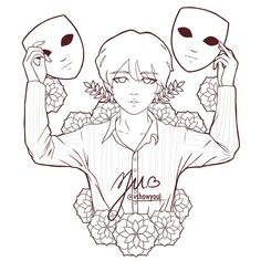 Bts Suga, Calligraphy Quotes Doodles, Mask Drawing, Bts Drawings, Aesthetic Gif, Fanart, Small Tattoos, Line Art, Cool Pictures