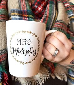 mrs. new last name wedding gift / newlywed / engagement gift / teacher gift / classroom / custom personalized mug.