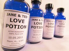 Love Potion is our take on having an apothecary look favor. We love to incorporate the names, date and location within the medicinal label, and ingredients? 100% Love (or fun, or sex, or whatever keeps them together!) ~ DaSweetZpot