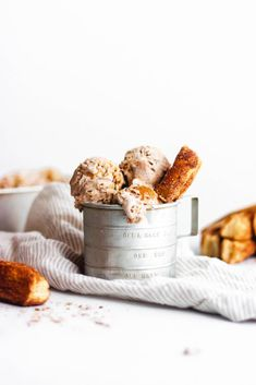 Easy no churn churro ice cream with baked churros, dulce de leche, homemade cinnamon ice cream, and Mexican vanilla.
