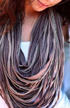 DIY Scarf ~ What to do with an old boy tee. ~Photos of Knotted Jewelry (Via: saakodesign, dailycandy) ~ Knot Necklace.