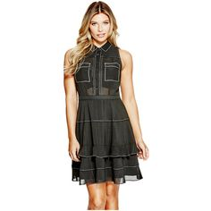 GUESS Cherelle Striped Shirt Dress ($77) ❤ liked on Polyvore featuring dresses, stripe dresses, sheer shirt dress, see-through dresses, t-shirt dresses and chiffon shirt dress