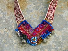 Kinship Stories: Precious tribal necklace. Wearable art piece, handmade with vintage materials from variety of cultures.