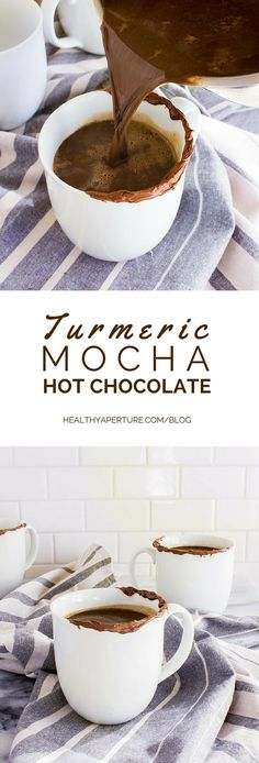 This turmeric spiced hot cocoa by @immaeatthat is a healthy coffee drink to warm you up this holiday season