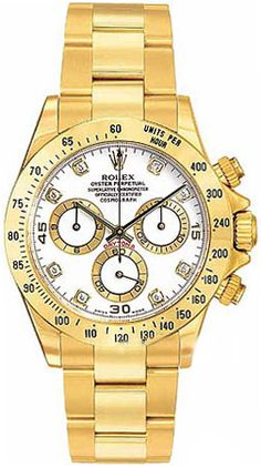Rolex Cosmograph Daytona White Diamond Dial 18k Yellow Gold Oyster Bracelet Men's Watch 116528WDO