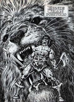"ungoliantschilde: "" a portfolio of PinUps from the Savage Sword of Conan, illustrated by Ernie Chan. Tattoo Studio, Comic Books Art, Comic Art, Conan The Barbarian Comic, Dc Comics, Conan The Conqueror, Conan The Destroyer, Top Imagem, John Buscema"