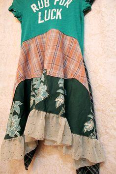 Funky Boho TShirt Dress, Bohemian, Hippie Style, Junk Gypsy Style